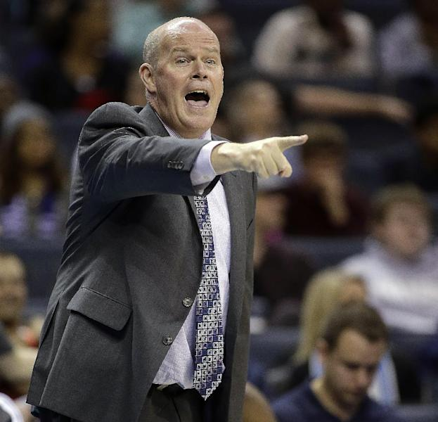 Charlotte Bobcats coach Steve Clifford makes a point during the first half of his team's NBA basketball game against the New Orleans Pelicans in Charlotte, N.C., Friday, Feb. 21, 2014. (AP Photo/Bob Leverone)