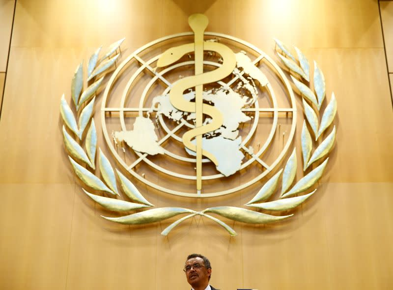 FILE PHOTO: Newly elected Director General of the WHO Tedros delivers a speech during the 70th World Health Assembly in Geneva