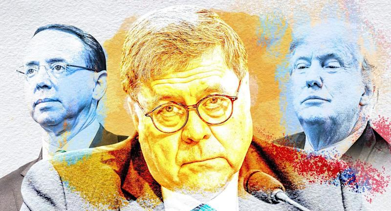 Rod Rosenstein, William Barr and President Trump. (Yahoo News photo Illustration; photos: AP, Getty Images)