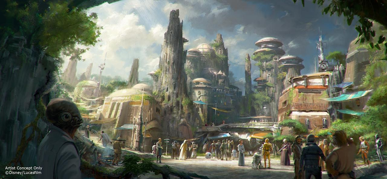 """<p>The land will also feature themed shops and restaurants (including a <a rel=""""nofollow"""" href=""""https://www.yahoo.com/movies/the-star-wars-cantina-scene-the-151216488.html"""">cantina!</a>), populated by humanoids and aliens based on the films. (Credit: Disney Parks/Lucasfilm) </p>"""