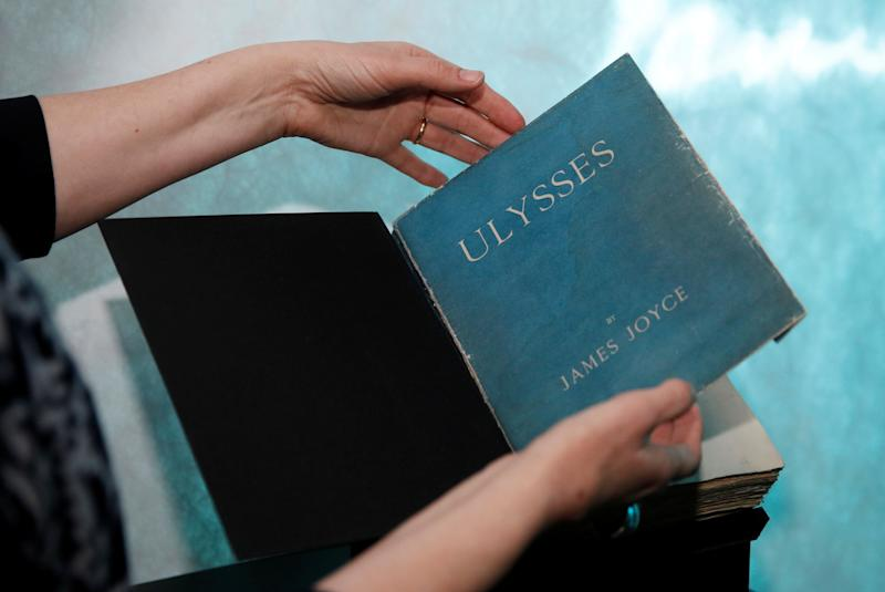 "A first edition copy of James Joyce's novel ""Ulysses"" is seen before it's shown to the Duke and Duchess of Cambridge, during a reception held by Irish Tanaiste (Deputy Prime Minister) Simon Coveney in Dublin, Ireland."