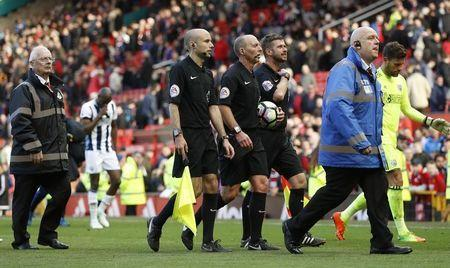 Britain Soccer Football - Manchester United v West Bromwich Albion - Premier League - Old Trafford - 1/4/17 Referee Mike Dean after the match Action Images via Reuters / Lee Smith Livepic