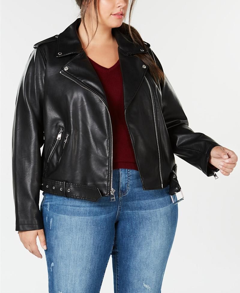 Plus Size Faux-Leather Belted Moto Jacket. (Photo: Macy's)