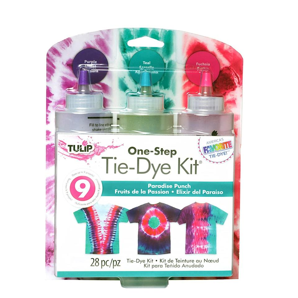 """<h2>One-Step Tie-Dye Kit <br></h2><br><a href=""""https://www.refinery29.com/en-us/best-tie-dye-gifts"""" rel=""""nofollow noopener"""" target=""""_blank"""" data-ylk=""""slk:Tie dye has made a fierce comeback"""" class=""""link rapid-noclick-resp"""">Tie dye has made a fierce comeback</a> in the past few years, and this one-step, three color kit makes it easy to get in on the trend.<br><br><strong>Tulip One-Step Tie-Dye Kit</strong> One-Step Tie-Dye Kit, $, available at <a href=""""https://www.amazon.com/Tulip-One-Step-Paradise-Punch-Color/dp/B01M196H53"""" rel=""""nofollow noopener"""" target=""""_blank"""" data-ylk=""""slk:Amazon"""" class=""""link rapid-noclick-resp"""">Amazon</a>"""