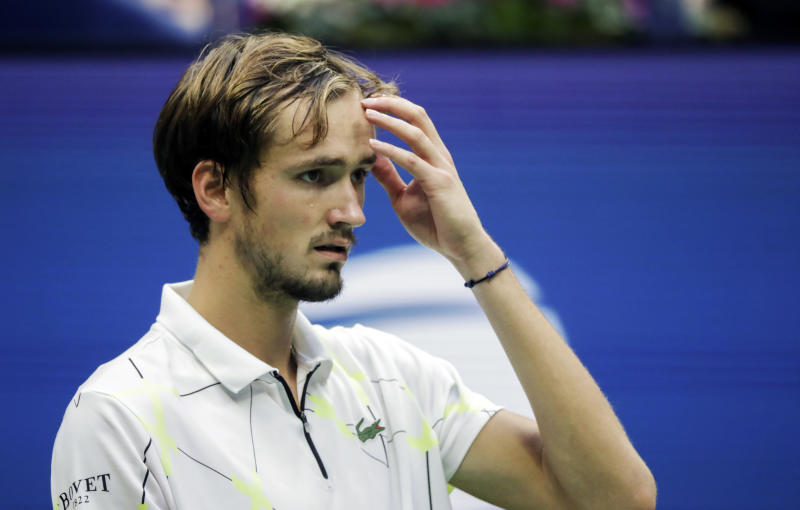 Daniil Medvedev, of Russia, reacts after losing a point to Rafael Nadal, of Spain, during the men's singles final of the U.S. Open tennis championships Sunday, Sept. 8, 2019, in New York. (AP Photo/Adam Hunger)