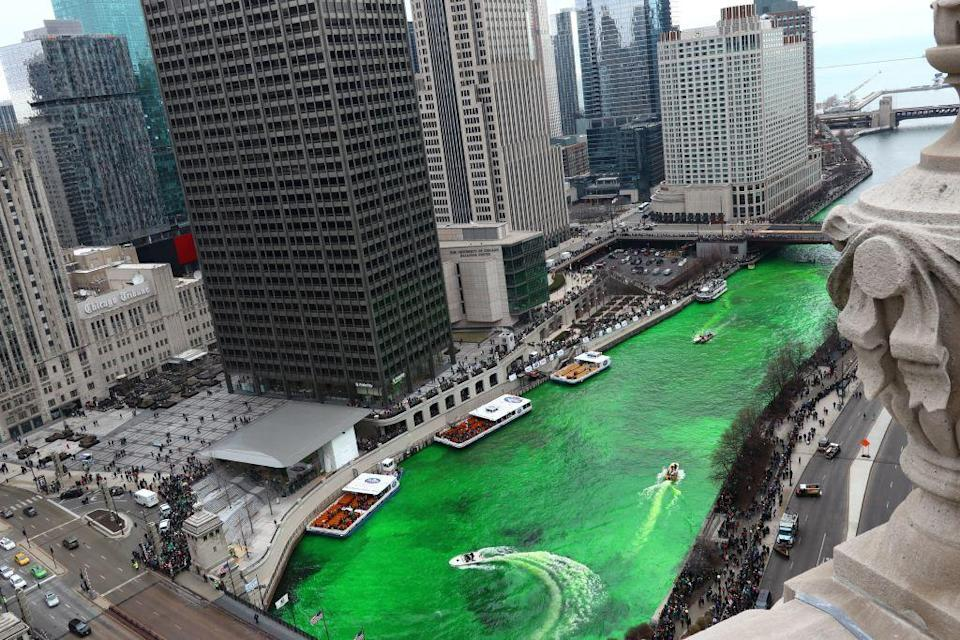 """<p><a href=""""https://go.redirectingat.com?id=74968X1596630&url=https%3A%2F%2Fwww.tripadvisor.com%2FTourism-g35805-Chicago_Illinois-Vacations.html&sref=https%3A%2F%2Fwww.countryliving.com%2Flife%2Fg26240477%2Fst-patricks-day-events%2F"""" rel=""""nofollow noopener"""" target=""""_blank"""" data-ylk=""""slk:Chicago"""" class=""""link rapid-noclick-resp"""">Chicago</a>, aka """"Greenest City in the World"""" takes its title pretty seriously—the <a href=""""https://go.redirectingat.com?id=74968X1596630&url=https%3A%2F%2Fwww.tripadvisor.com%2FAttraction_Review-g35805-d8113935-Reviews-Chicago_River-Chicago_Illinois.html&sref=https%3A%2F%2Fwww.countryliving.com%2Flife%2Fg26240477%2Fst-patricks-day-events%2F"""" rel=""""nofollow noopener"""" target=""""_blank"""" data-ylk=""""slk:Chicago River"""" class=""""link rapid-noclick-resp"""">Chicago River</a> is even dyed green for St. Patrick's Day! The city also hosts <a href=""""http://www.stpatricksdayactivities.org/parade_Chicago.php"""" rel=""""nofollow noopener"""" target=""""_blank"""" data-ylk=""""slk:an annual St. Patrick's Day parade"""" class=""""link rapid-noclick-resp"""">an annual St. Patrick's Day parade</a> that travels through downtown. </p>"""