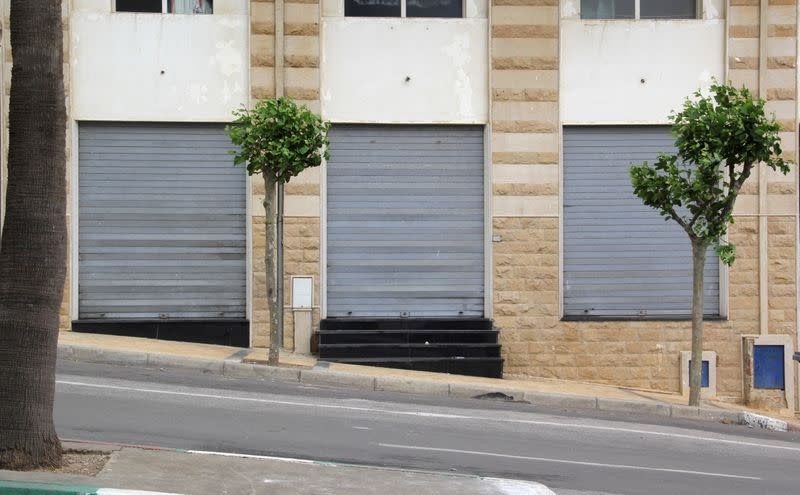 Closed shops are seen in Fnideq, close to the Spanish enclave Ceuta