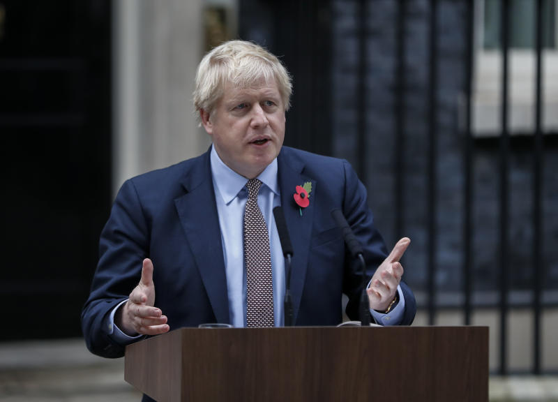 LONDON, Nov. 6, 2019 -- British Prime Minister Boris Johnson makes a statement outside 10 Downing Street in London, Britain on Nov. 6, 2019. Britain's general election campaign officially started Wednesday after Prime Minister Boris Johnson had an audience with Queen Elizabeth II to formally ask her permission to dissolve parliament. (Photo by Han Yan/Xinhua via Getty) (Xinhua/Han Yan via Getty Images)