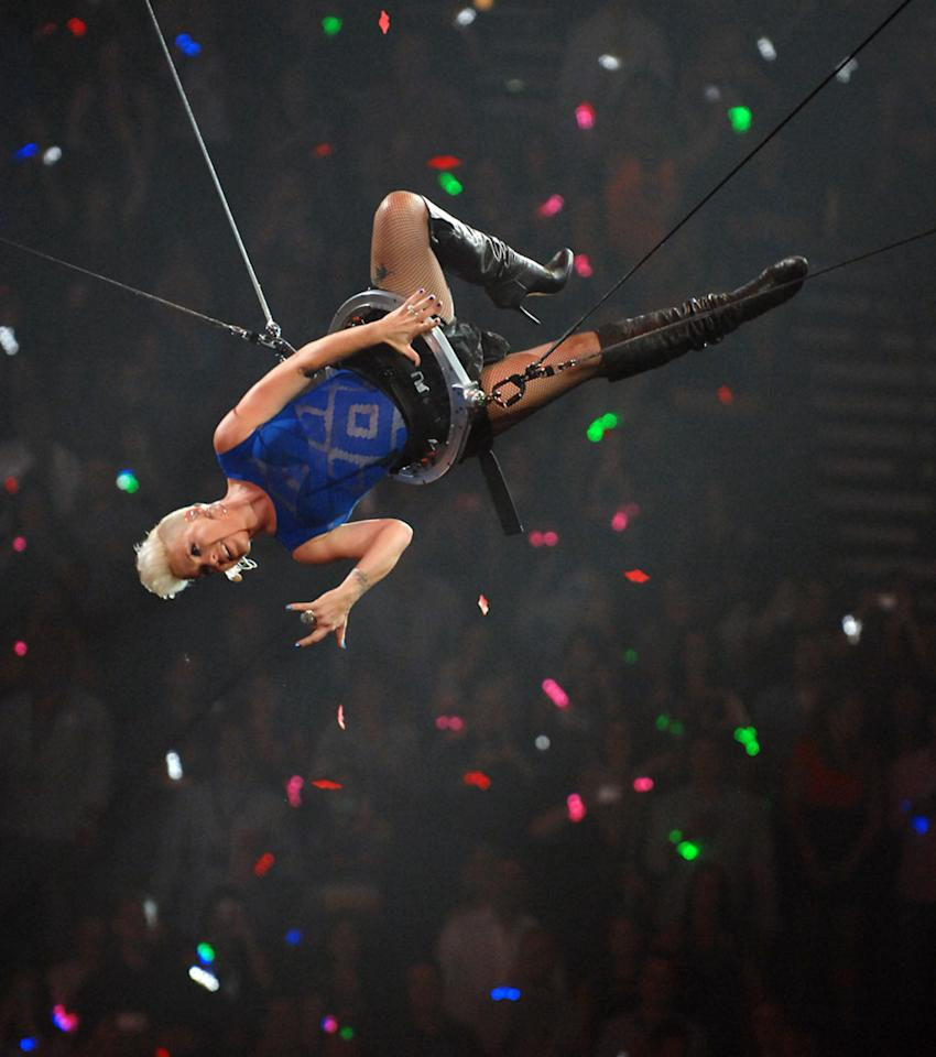 Singer Pink performs onstage during the 2012 iHeartRadio Music Festival at the MGM Grand Garden Arena on September 22, 2012 in Las Vegas, Nevada.  (Photo by Bryan Steffy/Getty Images for Clear Channel)
