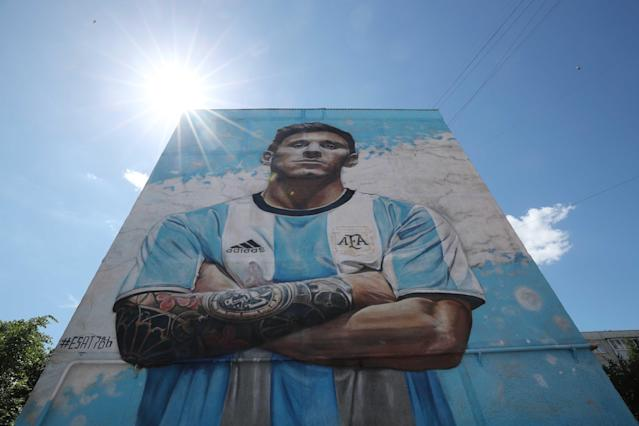 Soccer Football - World Cup - Argentina - Bronnitsy, Russia - June 20, 2018. A giant painting depicting Argentina's Lionel Messi is seen on the wall of the building REUTERS/Albert Gea