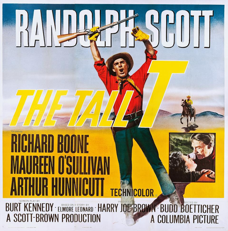 The Tall T, poster, Randolph Scott, inset: Maureen O'Sullivan, Randolph Scott on poster art, 1957. (Photo by LMPC via Getty Images)