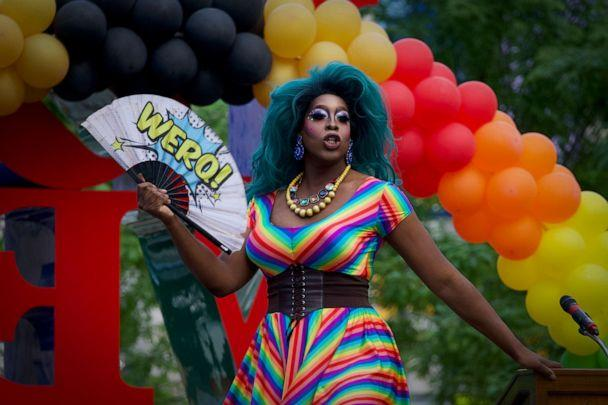 PHOTO: Drag Queen Vincent Leggett warms up the crowd at the first annual Pride In The Park kick-off party, hosted by Mayors Office of LGBTQ Affairs, at LOVE park, in Philadelphia, June 6, 2019. (NurPhoto via Getty Images, FILE)
