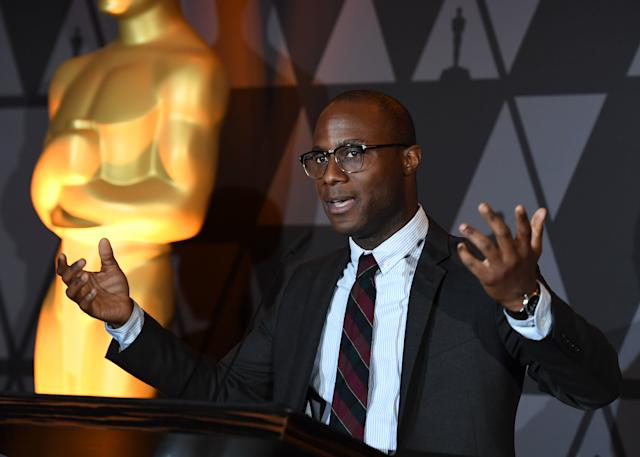 Barry Jenkins speaks at the Foreign Language Film Oscar nominees reception sponsored by the Academy of Motion Picture Arts and Sciences in Beverly Hills, California, on March 2, 2018. / AFP PHOTO / ANGELA WEISS (Photo credit should read ANGELA WEISS/AFP/Getty Images)
