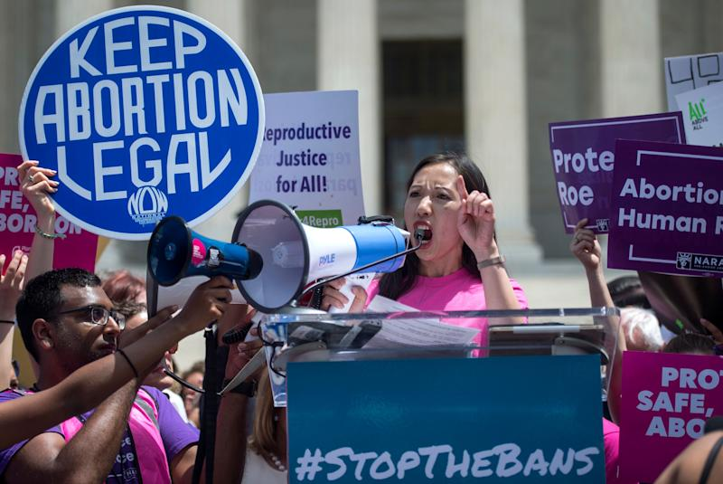 Planned Parenthood President Leana Wen spoke outside the Supreme Court Tuesday. (Photo: Congressional Quarterly via Getty Images)