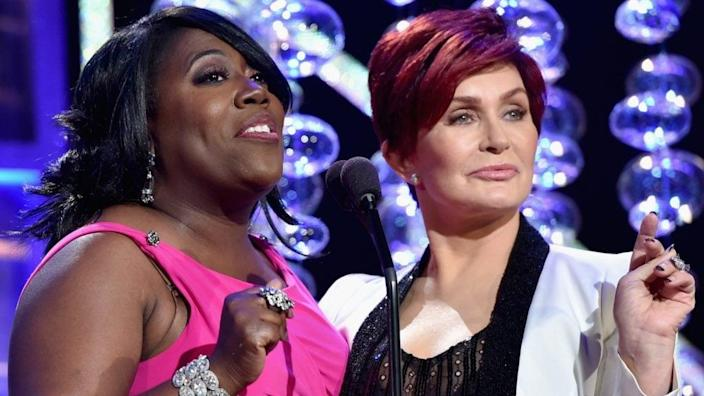 "TV personalities Sheryl Underwood (left) and Sharon Osbourne, two hostesses of ""The Talk"" on CBS, speak onstage during The 41st Annual Daytime Emmy Awards. (Photo by Alberto E. Rodriguez/Getty Images for NATAS)"