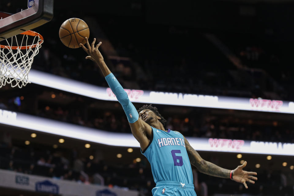 Charlotte Hornets forward Jalen McDaniels releases a shot duirng the first half of the team's NBA basketball game against the New York Knicks in Charlotte, N.C., Wednesday, Feb. 26, 2020. (AP Photo/Nell Redmond)