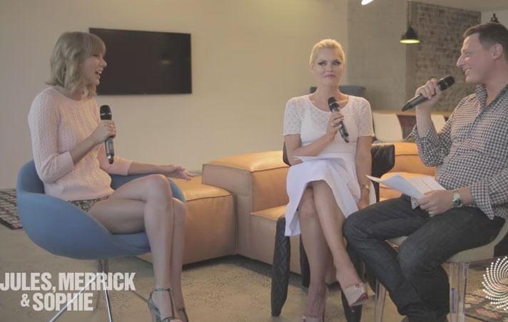 Sophie turns to her then co-host Merrick Watts in disbelief, and Taylor says,