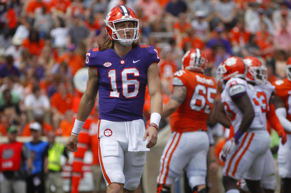 Clemson Tigers quarterback Trevor Lawrence (16) during the first half of the spring game at Clemson Memorial Stadium. (USA Today)