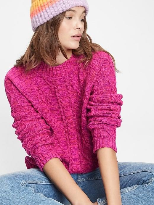 <p>Get cozy in this cute, vibrant <span>Gap Cable Knit Crewneck Sweater</span> ($35, originally $60).</p>