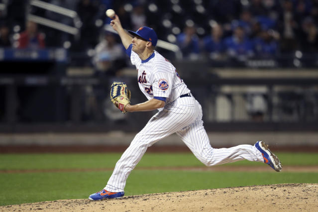 New York Mets relief pitcher Brad Brach delivers against the Philadelphia Phillies during the seventh inning of a baseball game Friday, Sept. 6, 2019, in New York. (AP Photo/Mary Altaffer)
