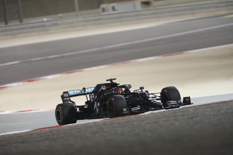Williams driver George Russell of Britain in action during the first free practice during Formula One Bahrain Grand Prix in Sakhir, Bahrain, Friday, Dec. 4, 2020.(AP Photo/Kamran Jebreili, Pool)