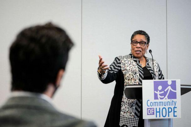 PHOTO: Secretary of Housing and Urban Development Marcia Fudge speaks to the press after taking a tour of a vaccination site at a community heath center in Washington,  May 5, 2021. (Drew Angerer/Getty Images)