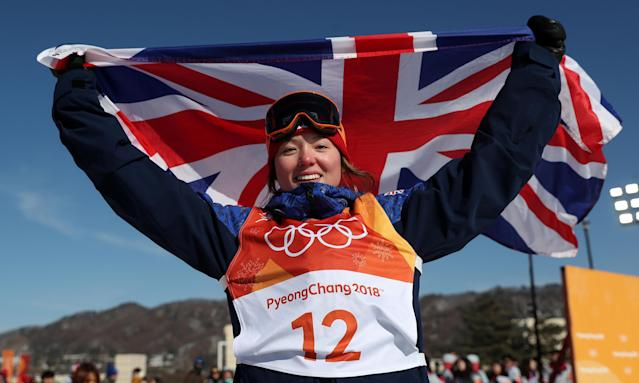 Izzy Atkin celebrates winning bronze in the ski slopestyle at Pyeongchang.