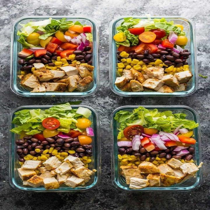 Southwestern chicken salad in glass containers.
