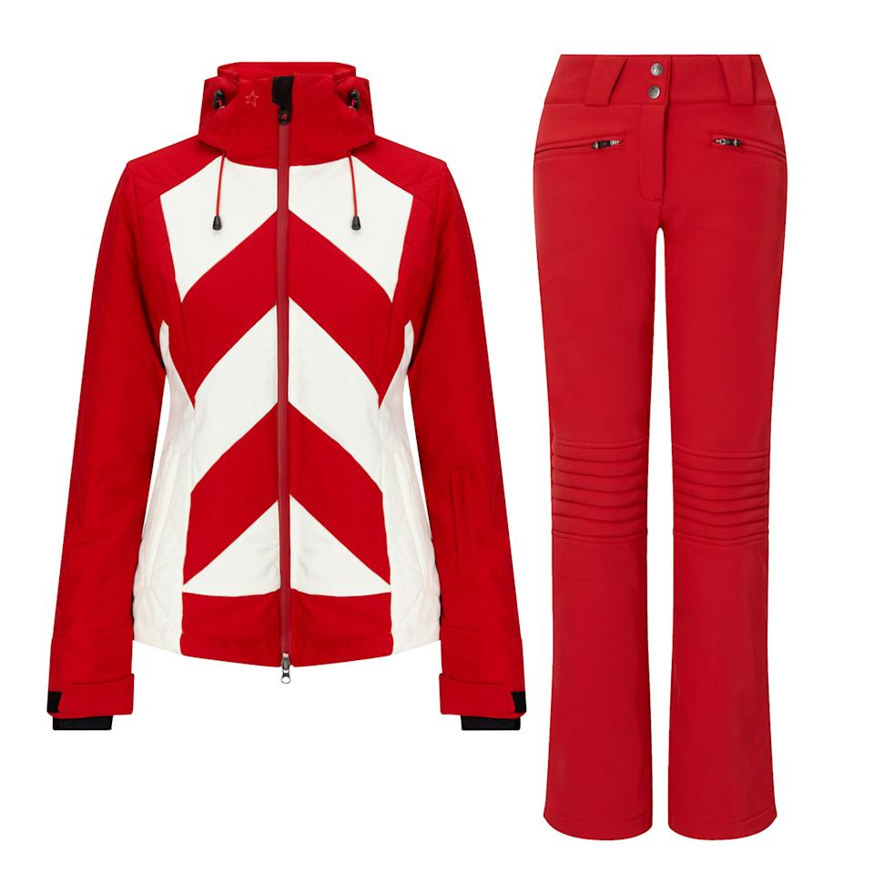 "<p>Own the mountain in the racing stripes of Perfect Moment.</p> <p><strong>Shop the look:</strong> Perfect Moment jacket, $600; <a rel=""nofollow"" href=""https://www.perfectmoment.com/tignes-jacket-red-white-stripe"">perfectmoment.com</a>. Perfect Moment pants, $400; <a rel=""nofollow"" href=""https://www.mytheresa.com/en-us/perfect-moment-aurora-flare-ski-trousers-886422.html"">mytheresa.com</a>. </p>"