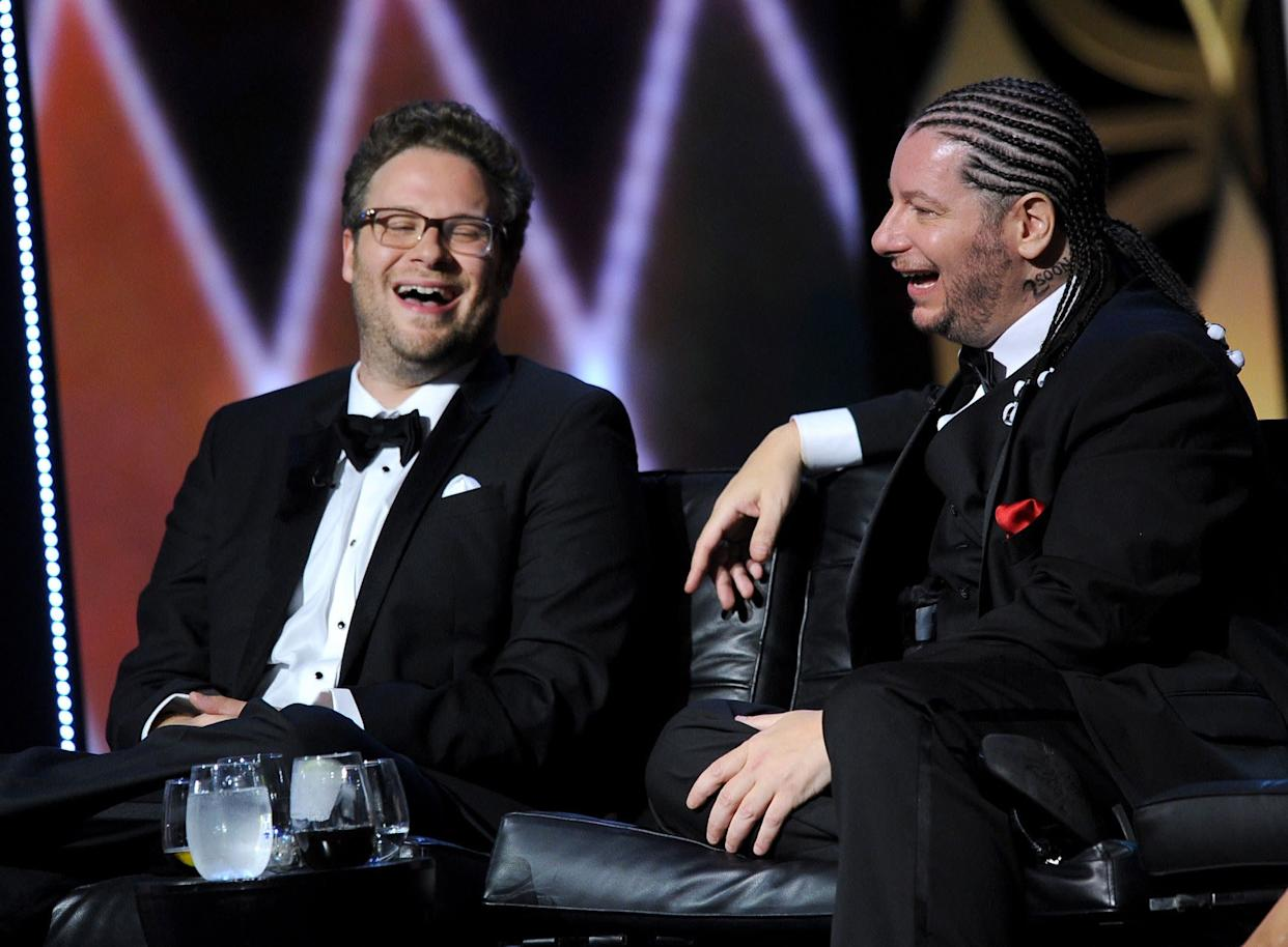CULVER CITY, CA - AUGUST 25: Roast Master Seth Rogen and comedian Jeffrey Ross onstage during The Comedy Central Roast of James Franco at Culver Studios on August 25, 2013 in Culver City, California. The Comedy Central Roast Of James Franco will air on September 2 at 10:00 p.m. ET/PT. (Photo by Kevin Winter/Getty Images for Comedy Central)