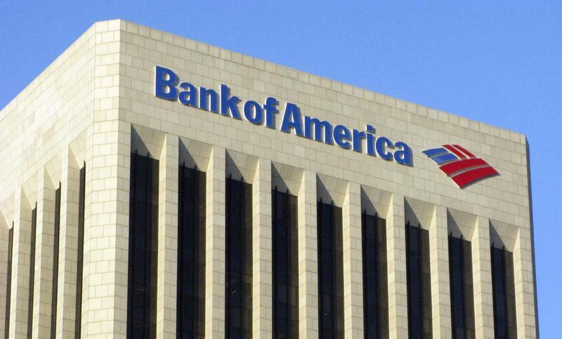 The logo of the Bank of America is pictured atop the Bank of America building in downtown Los Angeles