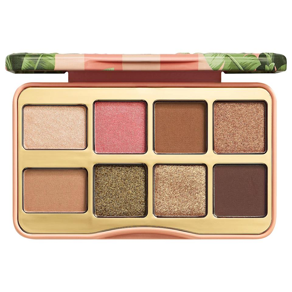 """<p>The <a href=""""https://www.popsugar.com/buy/Too-Faced-Shake-Your-Palm-Palms-Palette-497375?p_name=Too%20Faced%20Shake%20Your%20Palm%20Palms%20Palette&retailer=sephora.com&pid=497375&price=25&evar1=bella%3Aus&evar9=46709081&evar98=https%3A%2F%2Fwww.popsugar.com%2Fphoto-gallery%2F46709081%2Fimage%2F46709596%2FToo-Faced-Shake-Your-Palm-Palms-Palette&list1=eye%20shadow%2Cbeauty%20products%2Cmakeup%20palette%2Cbeauty%20by%20popsugar&prop13=api&pdata=1"""" rel=""""nofollow"""" data-shoppable-link=""""1"""" target=""""_blank"""" class=""""ga-track"""" data-ga-category=""""Related"""" data-ga-label=""""https://www.sephora.com/product/shake-your-palm-palms-palette-P447769?icid2=products%20grid:p447769"""" data-ga-action=""""In-Line Links"""">Too Faced Shake Your Palm Palms Palette</a> ($25) is likely smaller than your cell phone and has enough mattes and neutral shades to create a variety of looks.</p>"""