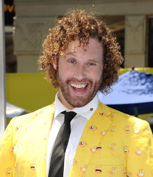 T.J. Miller at the premiere of <i>The Emoji Movie</i> in Los Angeles in July 2017. (Photo: Jason LaVeris/FilmMagic)