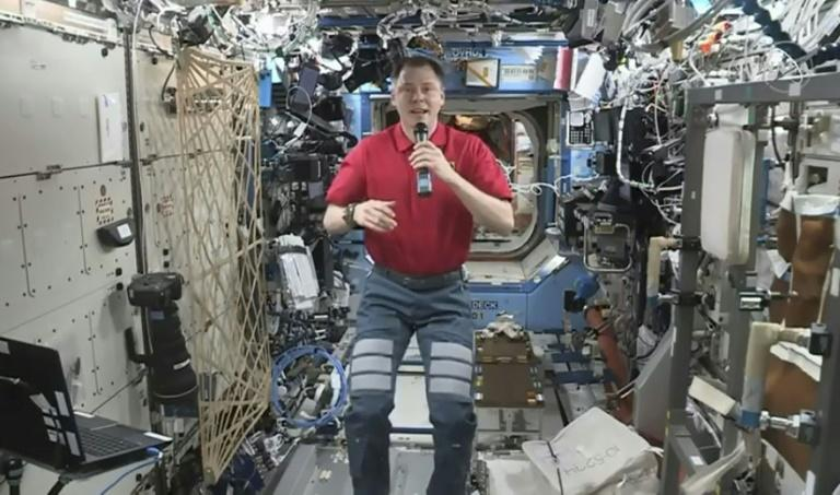 Nick Hague, shown here aboard the ISS conversing live with US actor Brad Pitt, had a close brush with death along with Russian cosmonaut Aleksey Ovchinin in October 2018