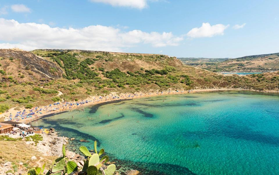 Malta's Golden Bay on a gloriously sunny day - Getty