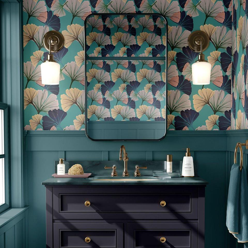 """<p>A perennially popular room to experiment with bold wallpaper. If your bathroom is small, even more reason to go big on design. Let your imagination run wild with daring dark colours, and clashing print. <br></p><p>Pictured: <a href=""""https://www.tatielou.co.uk/collections/ginkgo/products/gingko-blue-wallpaper"""" rel=""""nofollow noopener"""" target=""""_blank"""" data-ylk=""""slk:Ginkgo Blue Wallpaper"""" class=""""link rapid-noclick-resp"""">Ginkgo Blue Wallpaper</a>, Tati Lou</p>"""