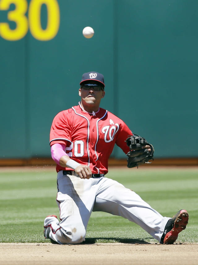 Washington Nationals shortstop Ian Desmond makes an off-balance throw to first base on a ground ball hit by Oakland Athletics' Alberto Callaspo during the first inning of a baseball game on Sunday, May 11, 2014, in Oakland, Calif. Callaspo got an infield single on the play. (AP Photo/Marcio Jose Sanchez)