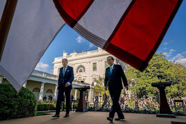 PHOTO: President Joe Biden and Japanese Prime Minister Yoshihide Suga leave a news conference in the Rose Garden of the White House, April 16, 2021.  (Andrew Harnik/AP)