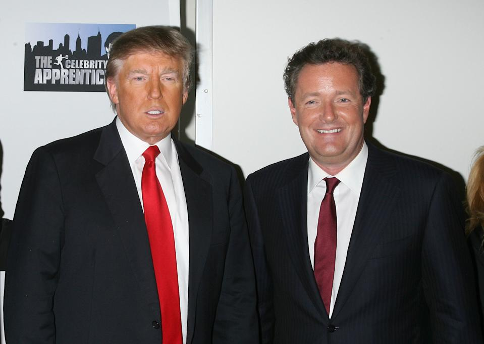 "NEW YORK - MAY 10:  Donald Trump and Piers Morgan attend ""The Celebrity Apprentice"" season finale at the American Museum of Natural History on May 10, 2009 in New York City.  (Photo by Jim Spellman/WireImage)"