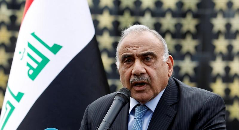 Iraqi Prime Minister Adel Abdul Mahdi speaks during a symbolic funeral ceremony of Major General Ali al-Lami, who commands the Iraqi Federal Police's Fourth Division, who was killed in Salahuddin, in Baghdad