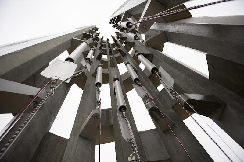 The 40 wind chimes inside the newly-unveiled Tower of Voices represent the 40 passengers and crew killed on Flight 93 (AFP Photo/JEFF SWENSEN)