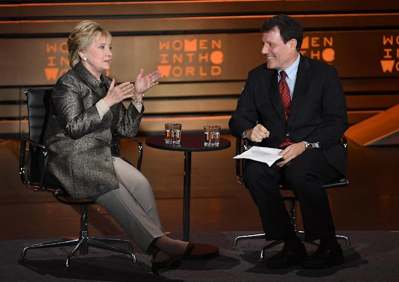Former US Secretary of State Hillary Clinton and journalist Nicholas Kristof  speak at the Eighth Annual Women in the World Summit at Lincoln Center for the Performing Arts on April 6, 2017, in New York City