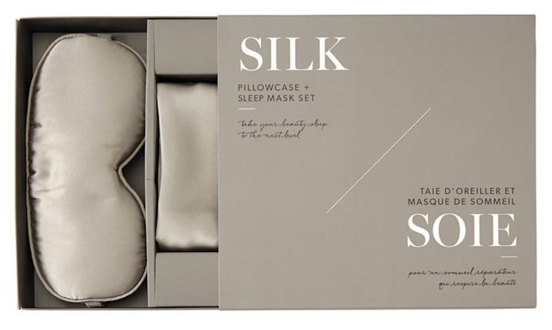 """For parents who never get enough sleep, make sure what they do get is as luxe as possible with this set. Get it at <a href=""""https://www.chapters.indigo.ca/en-ca/fashion/silk-sleep-mask-pillow-case/882709512714-item.html"""" target=""""_blank"""" rel=""""noopener noreferrer"""">Indigo</a>, $95."""