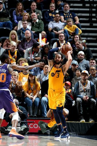 SALT LAKE CITY, UT - FEBRUARY 6: Ricky Rubio #3 of the Utah Jazz handles the ball against the Phoenix Suns on February 6, 2019 at Vivint Smart Home Arena in Salt Lake City, Utah. (Photo by Melissa Majchrzak/NBAE via Getty Images)