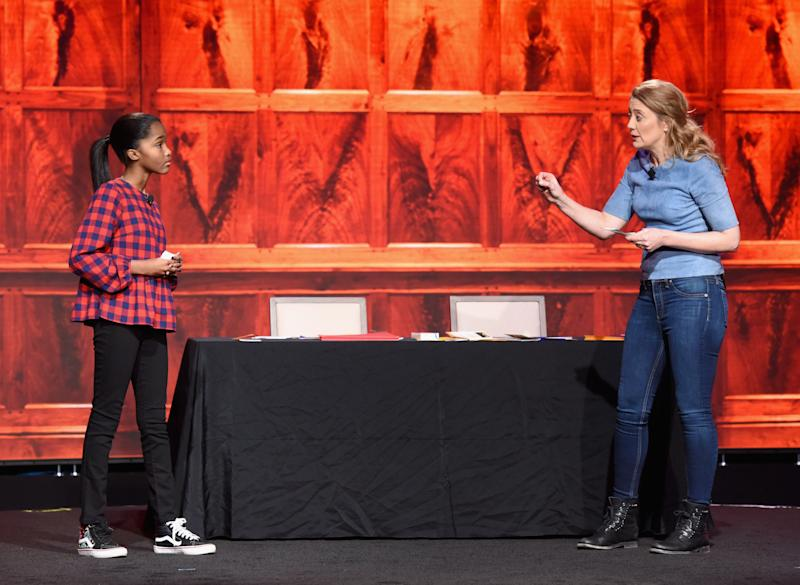 Rosdely Ciprian and Heidi Schreck speak onstage during The 2019 MAKERS Conference at Monarch Beach Resort.