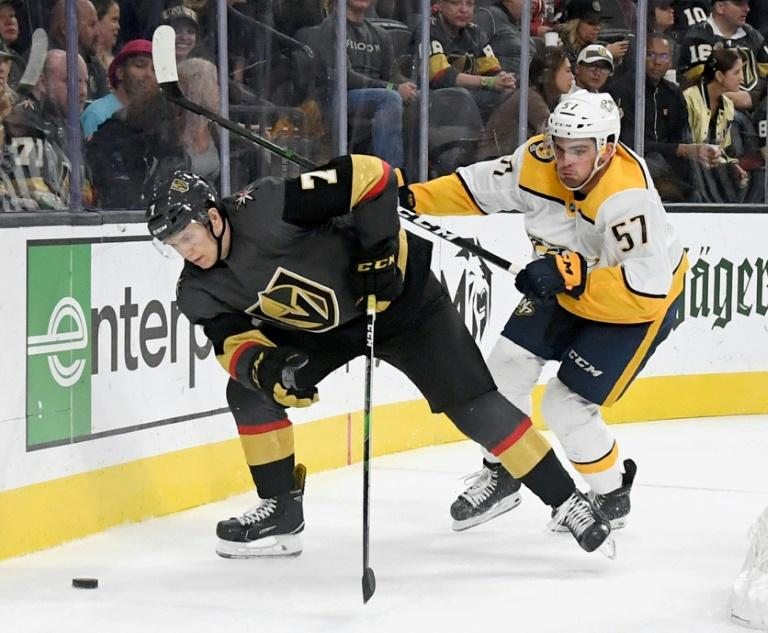 Vegas Golden Knights winger Valentin Zykov (L) was issued a 20-game ban by the NHL after testing positive for a banned performance-enhancing substance