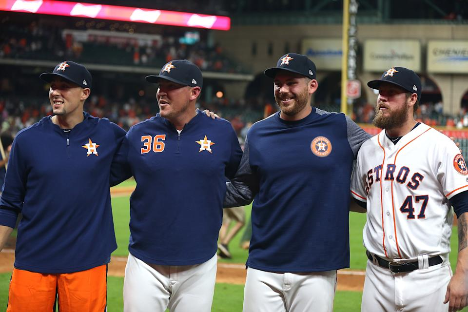 HOUSTON, TEXAS - AUGUST 03: (L-R) Aaron Sanchez #18 of the Houston Astros, Will Harris #36, Joe Biagini #29 and Chris Devenski #47 combined  for a no hitter against the Seattle Mariners at Minute Maid Park on August 03, 2019 in Houston, Texas. (Photo by Bob Levey/Getty Images)