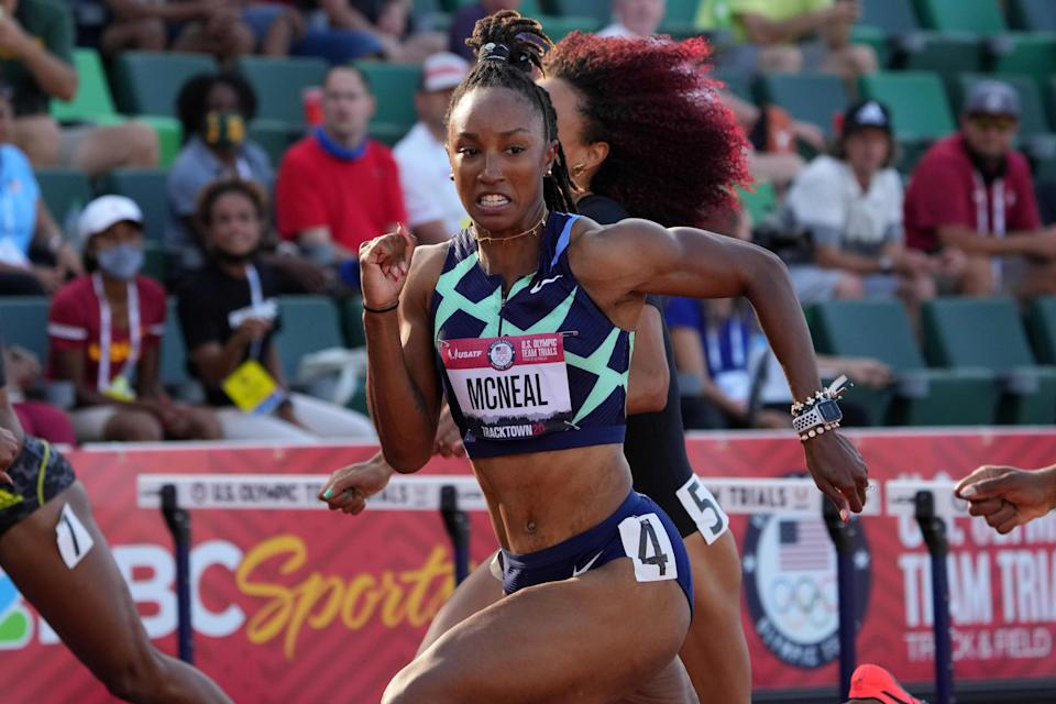 Brianna McNeal finished second in the final of the 100-meter hurdles to qualify for Tokyo, but will be replaced on Team USA by Gabbi Cunningham.