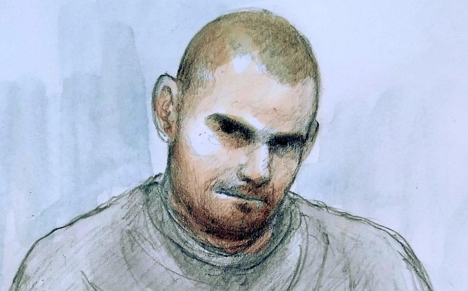 Artists impression of Damien Bendall appearing via video link at Southern Derbyshire Magistrates' Court - Helen Tipper/SWNS