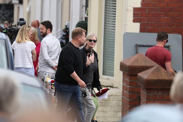 James Corden filming for the Gavin and Stacey Christmas special on Trinity Street (Credit: Getty Images)